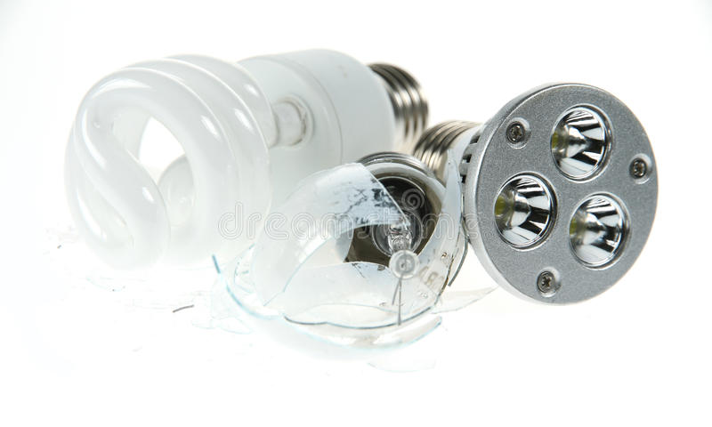 Incandescent overpowered por fluorescente e pelo diodo emissor de luz foto de stock royalty free