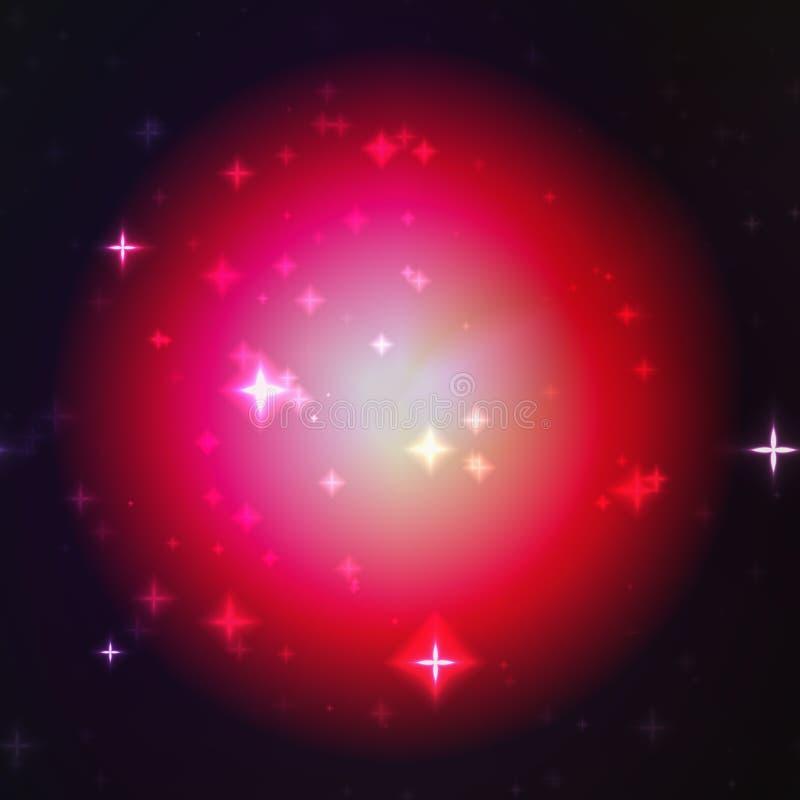 Incandescenza rossa della palla con struttura delle stelle, sui precedenti neri illustrazione di stock