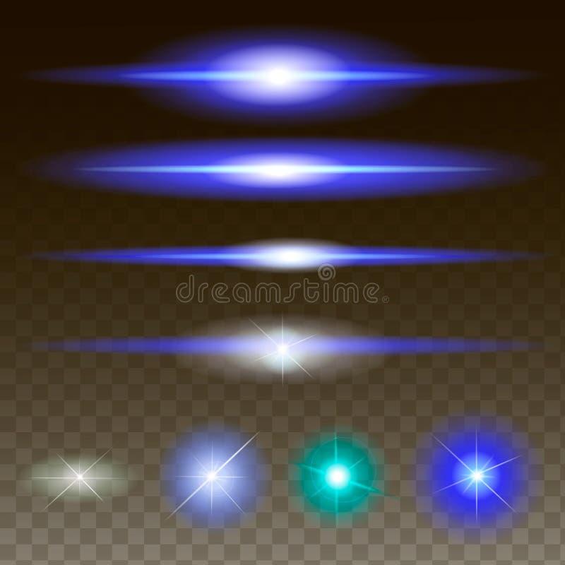 Incandescer luzes e stars explosões com sparkles ilustração stock