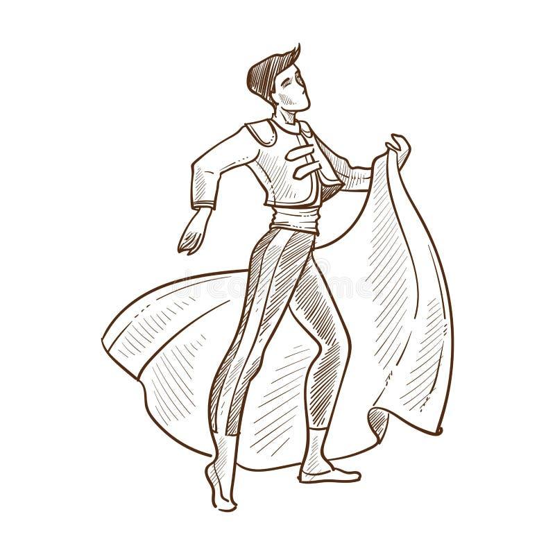 Incantare di principe nell'illustrazione monocromatica di vettore di schizzo del mantello illustrazione di stock