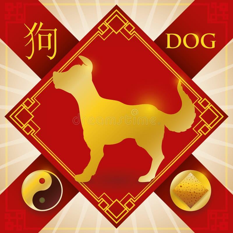 Incanto con il cane cinese dello zodiaco, l'elemento della terra e Yang Symbol, illustrazione di vettore illustrazione di stock
