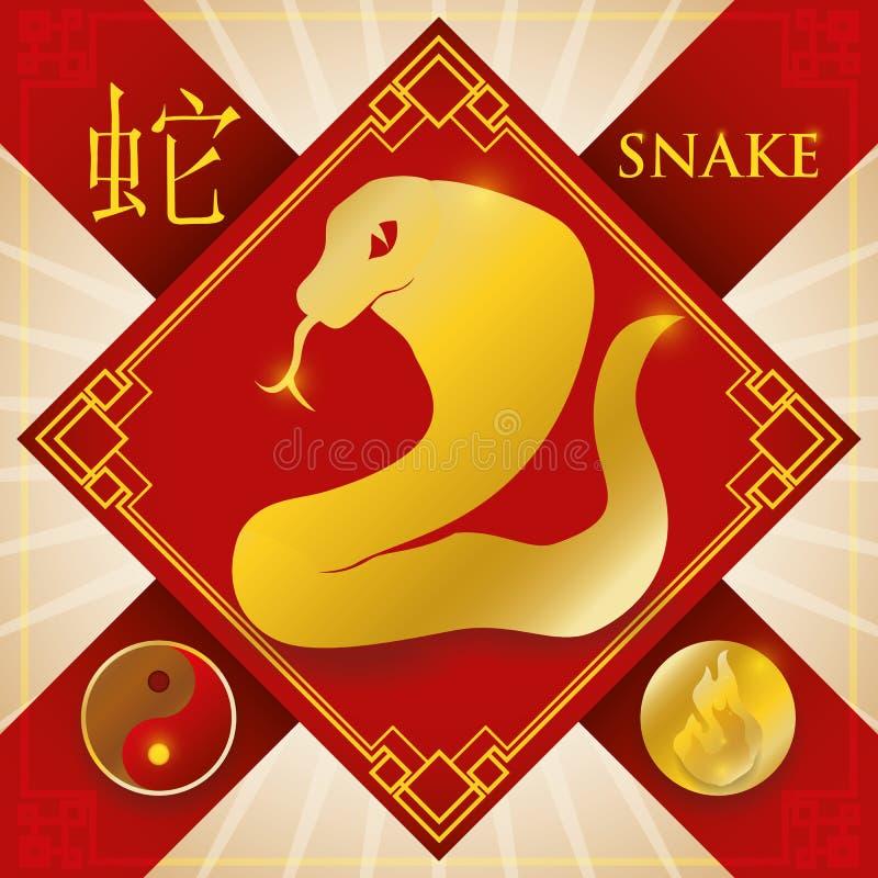 Incanto con il serpente cinese dello zodiaco, l'elemento del fuoco e Yin Symbol, illustrazione di vettore illustrazione vettoriale