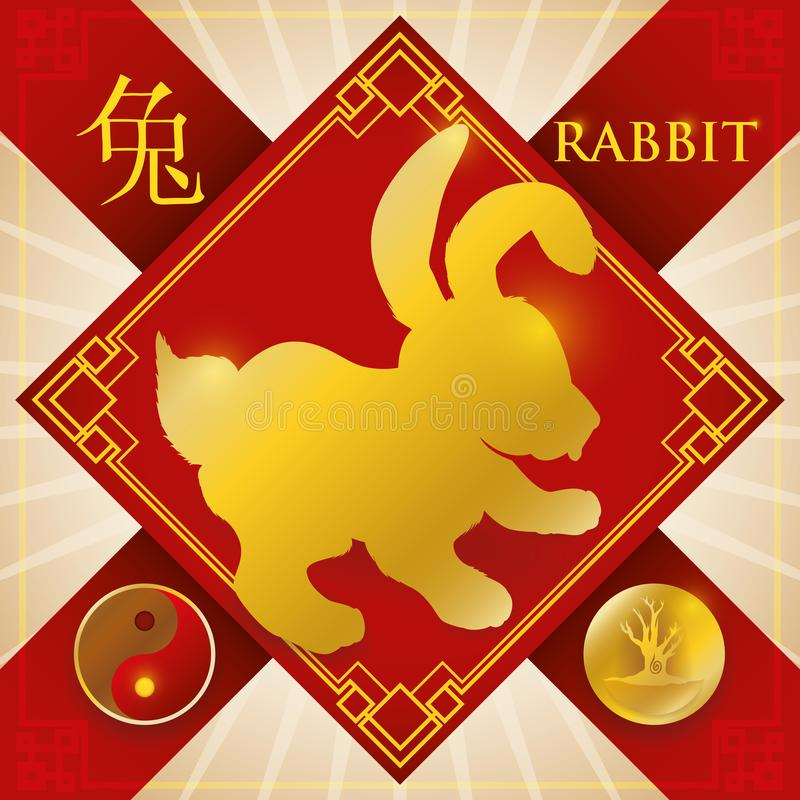 Incanto con l'elemento legno cinese del coniglio dello zodiaco, e Yin Symbol, illustrazione di vettore illustrazione di stock