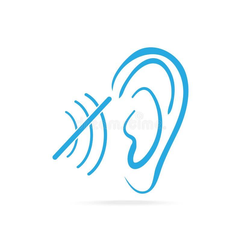 Incapacidad para oír el icono azul, el icono sordo, la audiencia y el icono del oído libre illustration