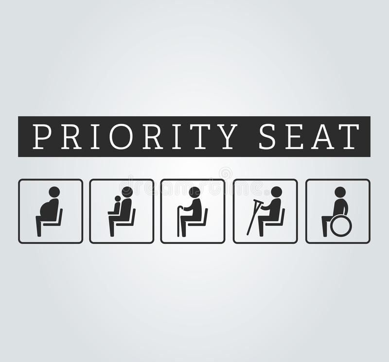 Incapacités et aînés, estropié, enceinte, maman ou mère avec l'ensemble de signe de secteur d'enfant Allocation des places priori illustration de vecteur