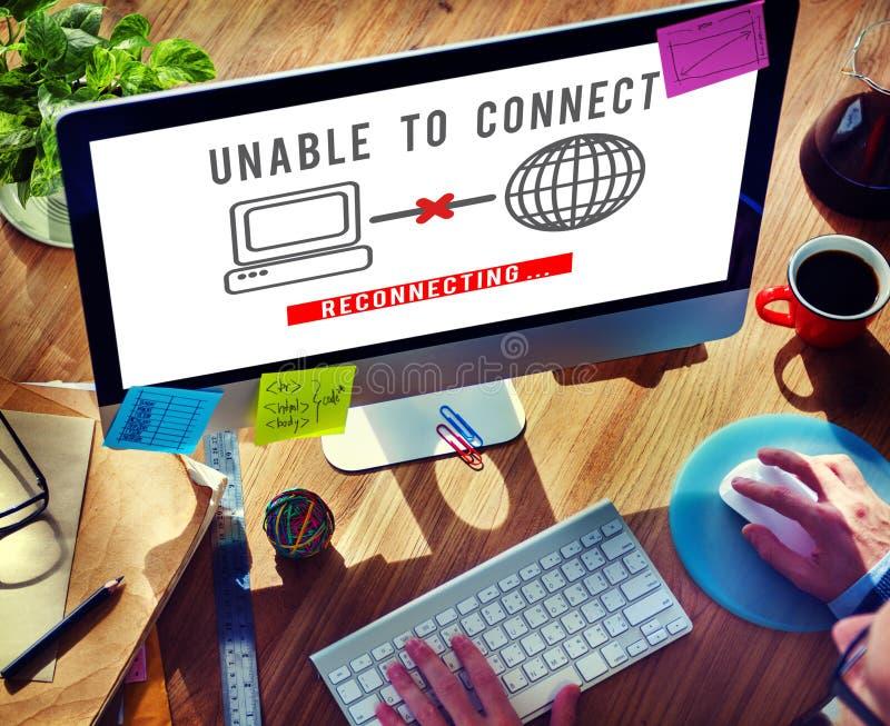 Incapaz conecte el concepto del problema del fracaso del error de la desconexión fotos de archivo
