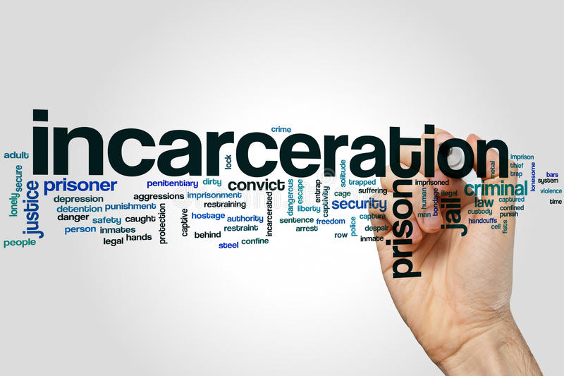 Incarceration word cloud concept stock image