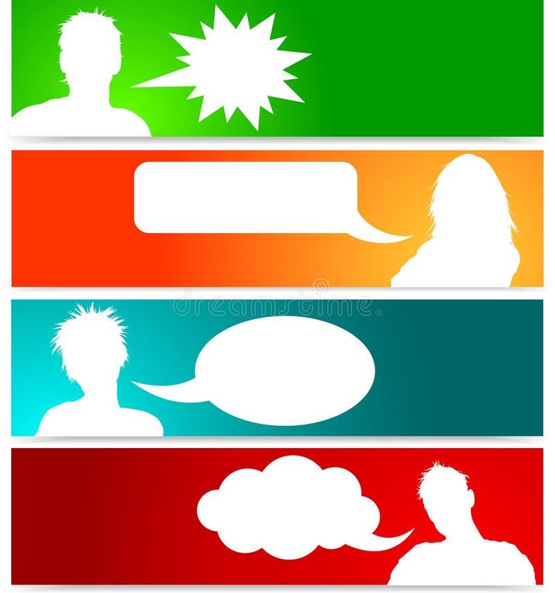 Incarnazioni della gente con le bolle di discorso illustrazione di stock