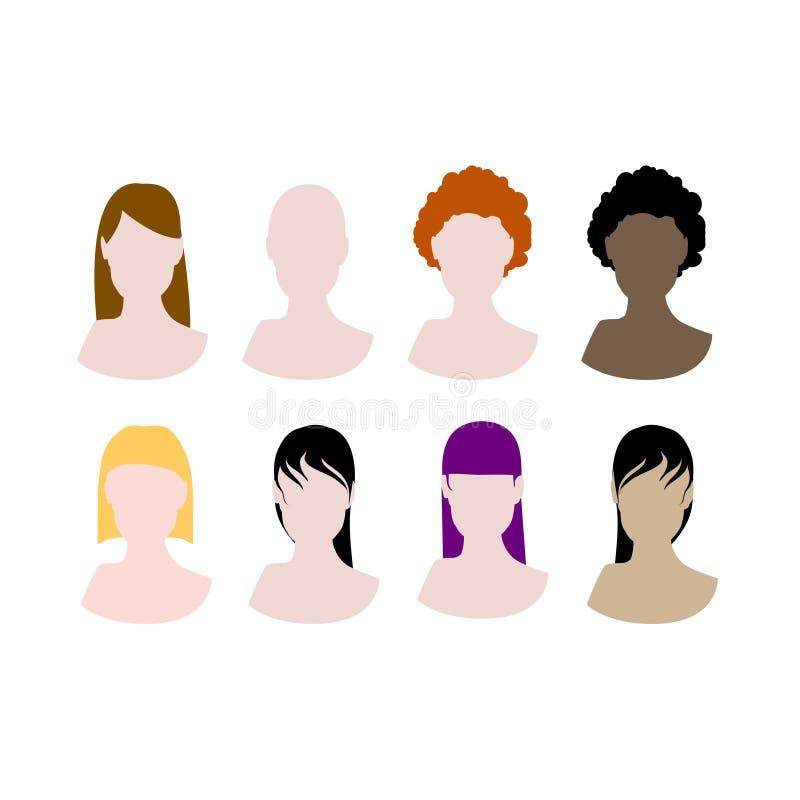 Incarnazioni di stili di capelli delle donne illustrazione vettoriale