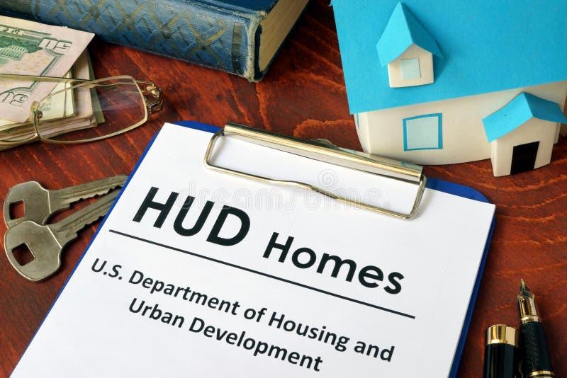 Incarti con le case di parole HUD immagini stock libere da diritti