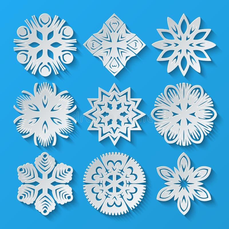 Incarti i fiocchi di neve Insieme 3 illustrazione di stock