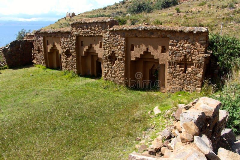 Incaruïnes Isla del sol Boliva stock fotografie
