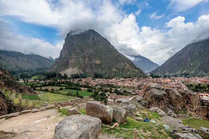 Incaruïnes in Ollantaytambo, Peru stock afbeeldingen