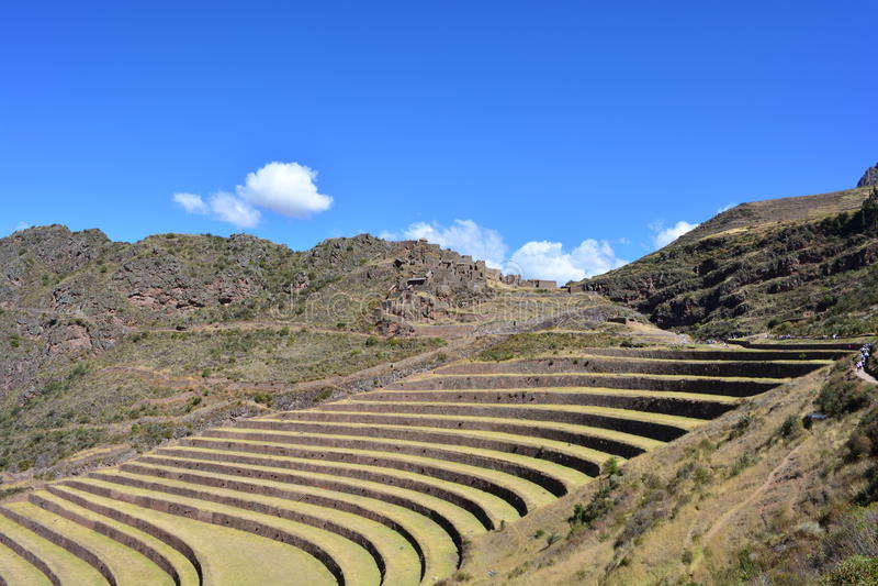 Incaruïnes van Pisac, Peru royalty-vrije stock foto's