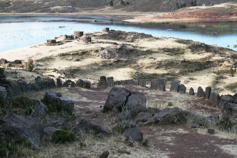 Incas sillustani fotografia stock