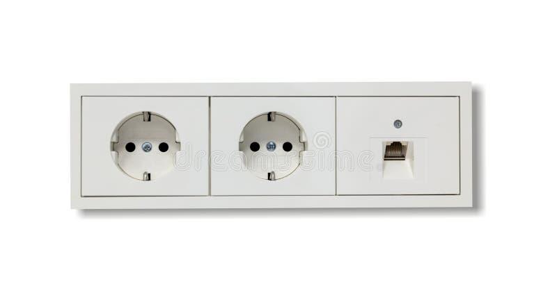 Incavi elettrici e linea della rete Priorità bassa bianca Chiuda sulla vista con i dettagli fotografia stock