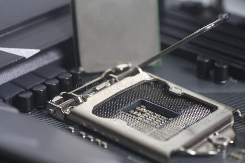 Incavo 1151 del CPU di Intel LGA sul PC del computer della scheda madre fotografia stock libera da diritti