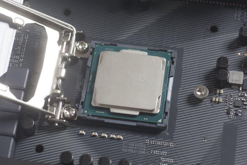 Incavo 1151 del CPU di Intel LGA sul PC del computer della scheda madre con l'unità di elaborazione immagini stock libere da diritti