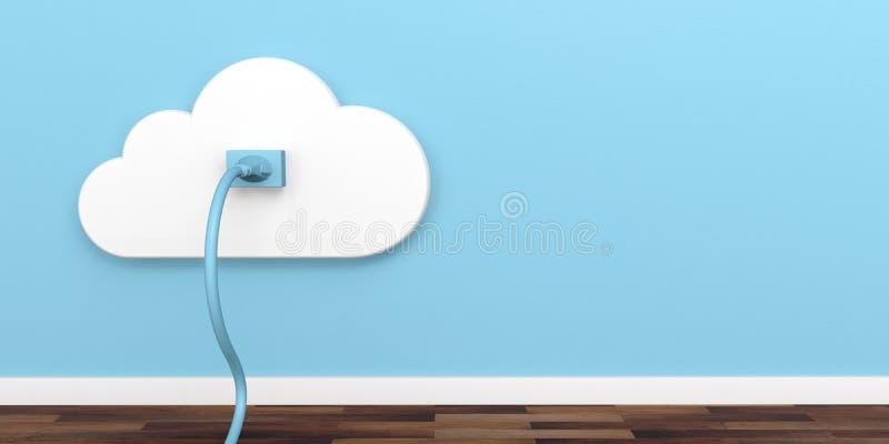 Incavo della rete della nuvola Spina ed incavo sul fondo blu della parete illustrazione 3D illustrazione di stock