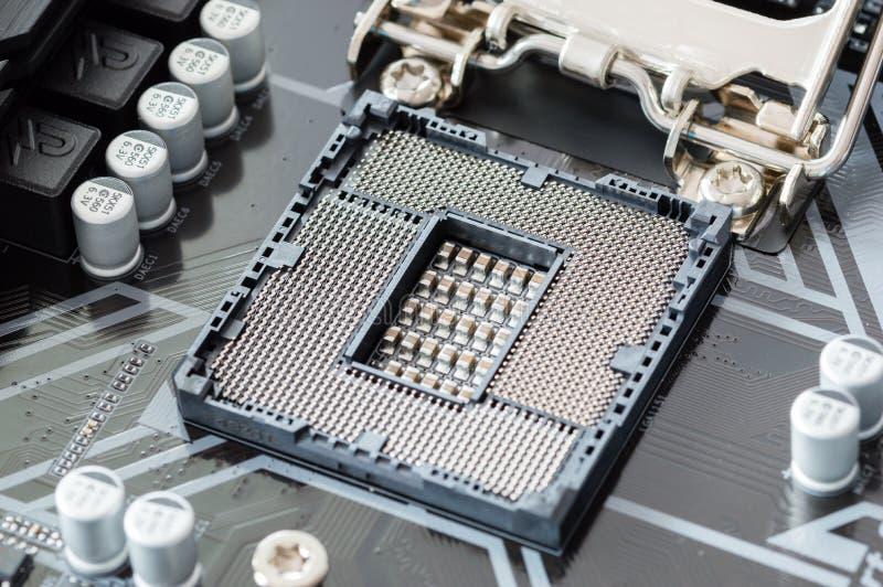 Incavo 1151 di Intel LGA sulla scheda madre del PC fotografia stock libera da diritti