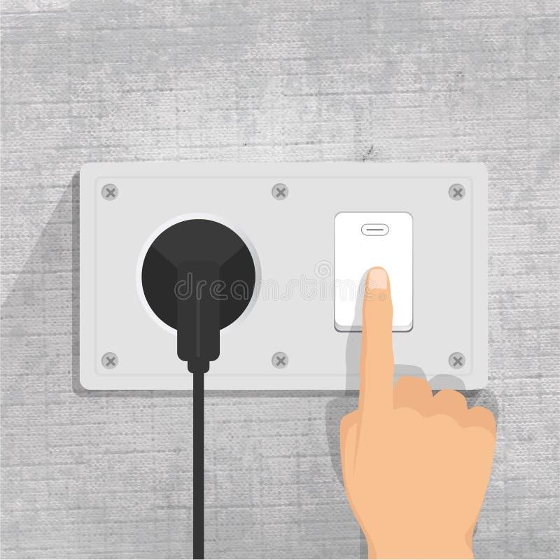 Incavo di potere Interruttore chiaro Inserire la spina dito che preme il bottone di interruttore della luce illustrazione di stock