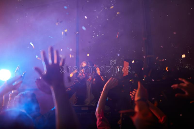 Incendiary atmosphere at performance of dj stock image