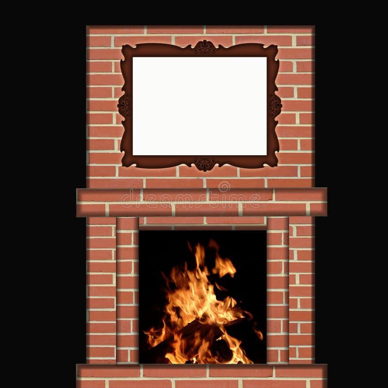 Incendie brûlant en cheminée avec le cadre de tableau illustration libre de droits