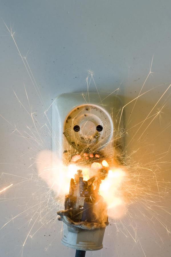 Incendie d'Eletrical photos libres de droits