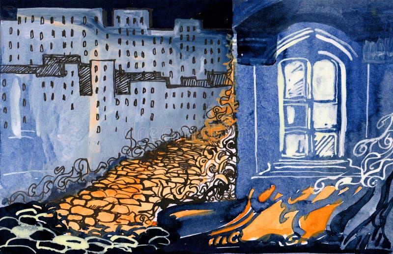 Incendie dans la ville illustration de vecteur