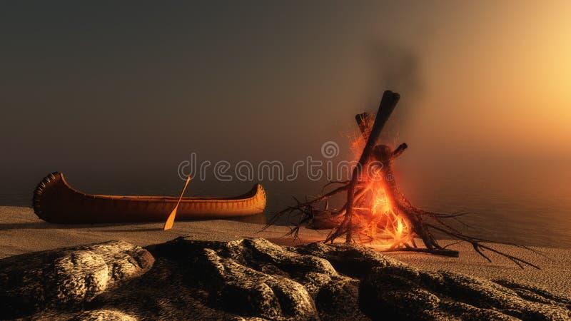 Incendie de camp au coucher du soleil illustration libre de droits