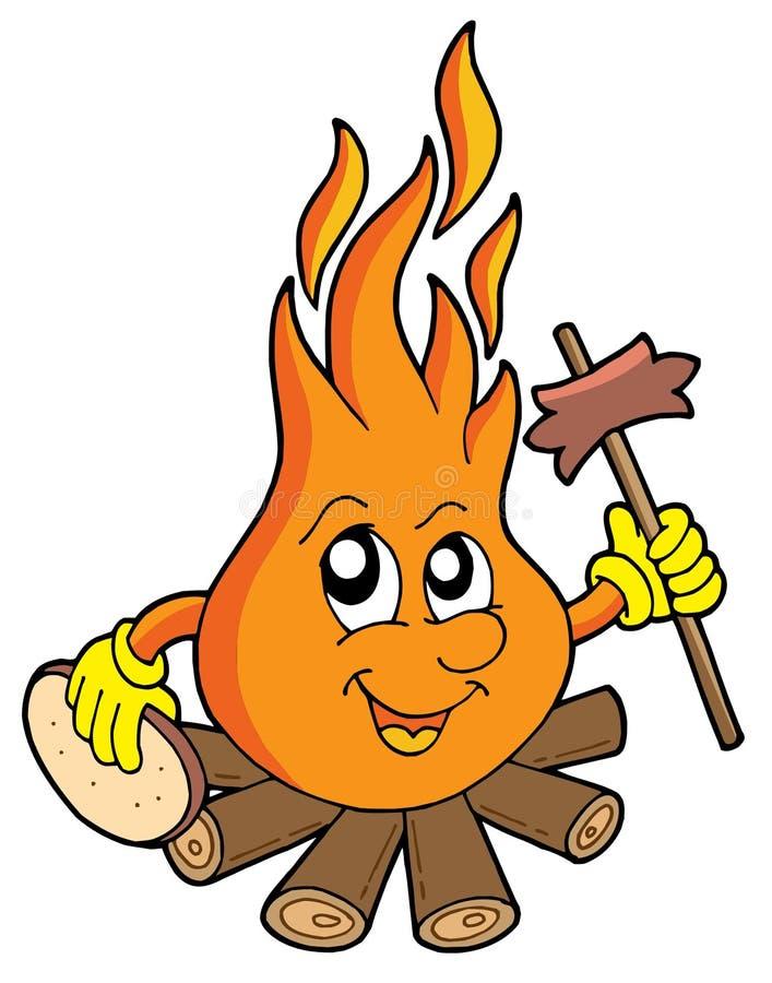 Incendie de camp avec la saucisse illustration libre de droits