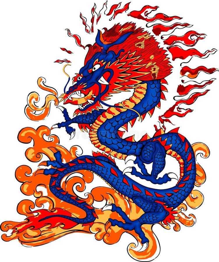 Incendie de dragon respirant illustration de vecteur