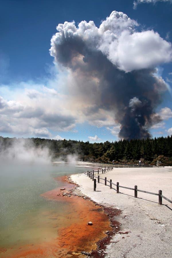 Incendie de forêt dans la région géothermique de Wai-o-Tapu photo libre de droits