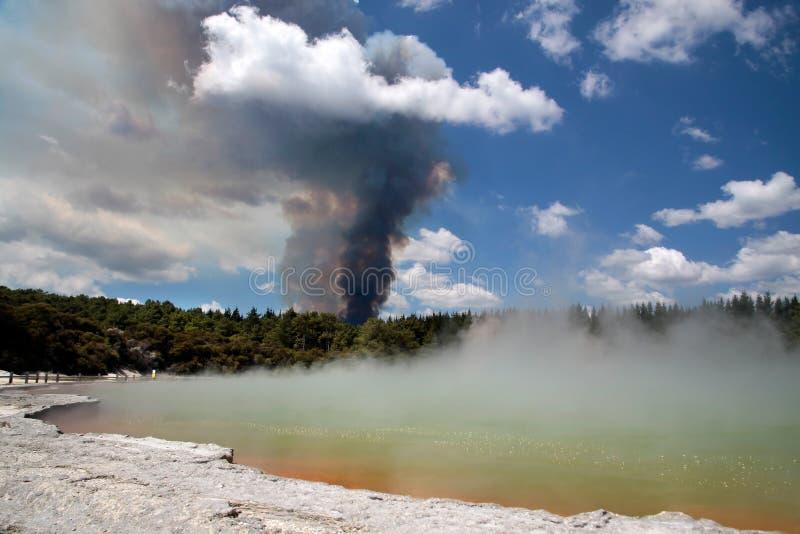 Incendie de forêt dans la région géothermique de Wai-o-Tapu image stock