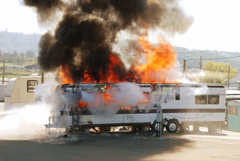 Incendie de remorque photos stock