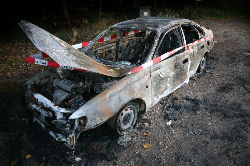 Incendie de véhicule images libres de droits