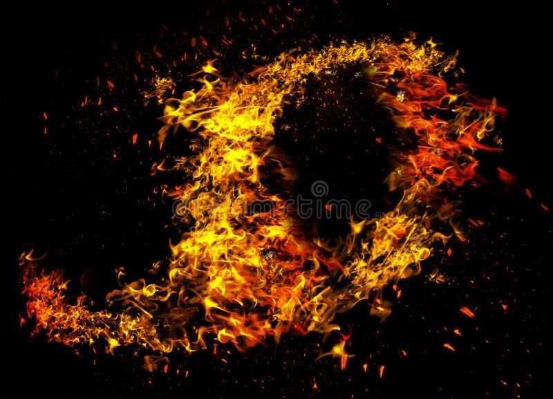 Incendie et flammes avec une obscurit? br?lante - rouge - fond orange Incendie et flammes ?l?ment photographie stock
