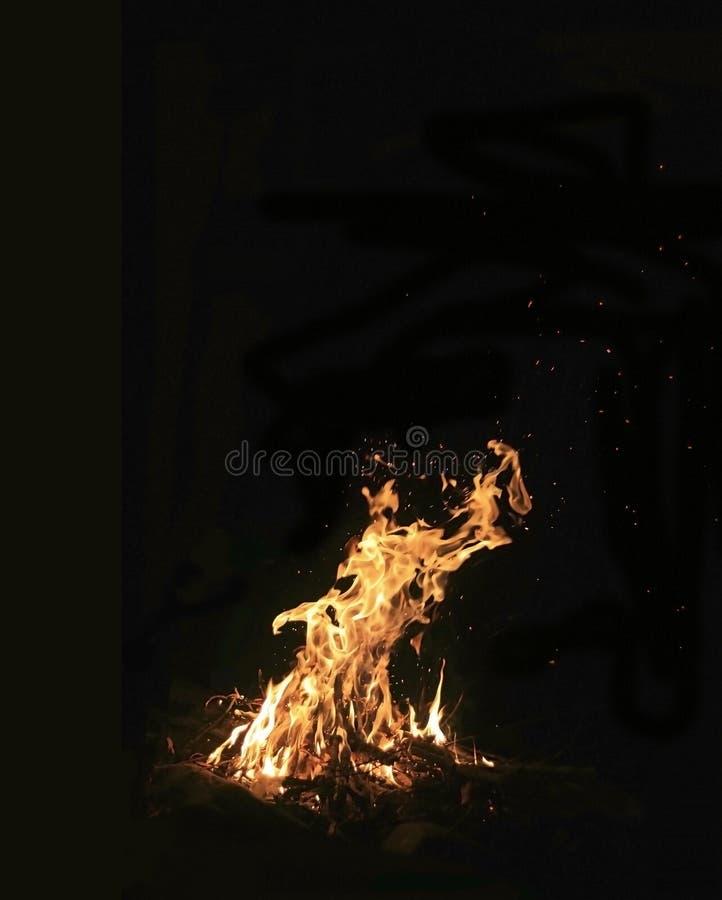 Incendie la nuit photographie stock libre de droits