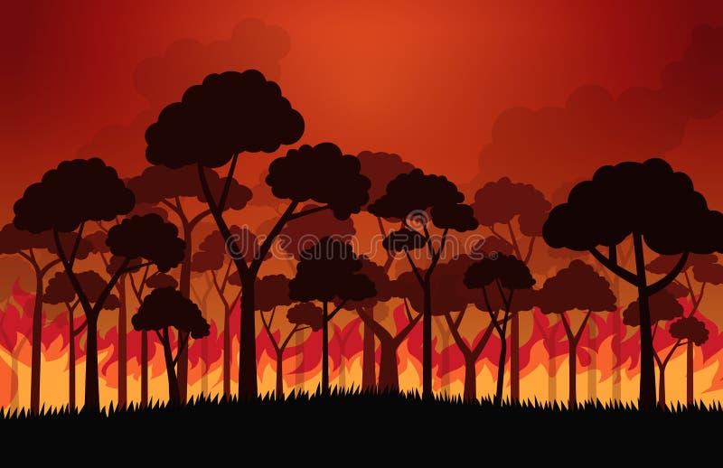 Incendies de forêt brûlant l'arbre en flammes du feu illustration stock