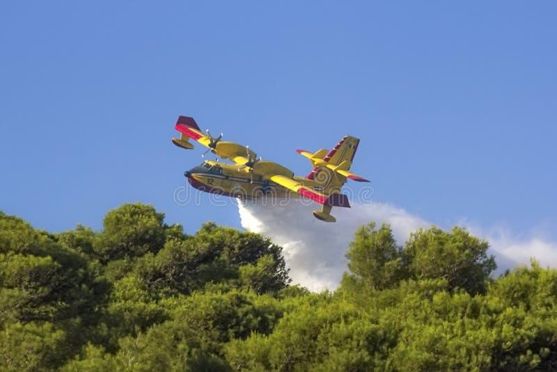 Incendio forestal de Santa Cesarea Terme imagen de archivo libre de regalías