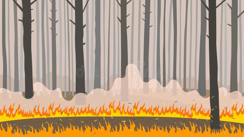 Incendio forestale di disastro naturale il concetto prende la cura della natura Illustrazione piana di vettore illustrazione di stock