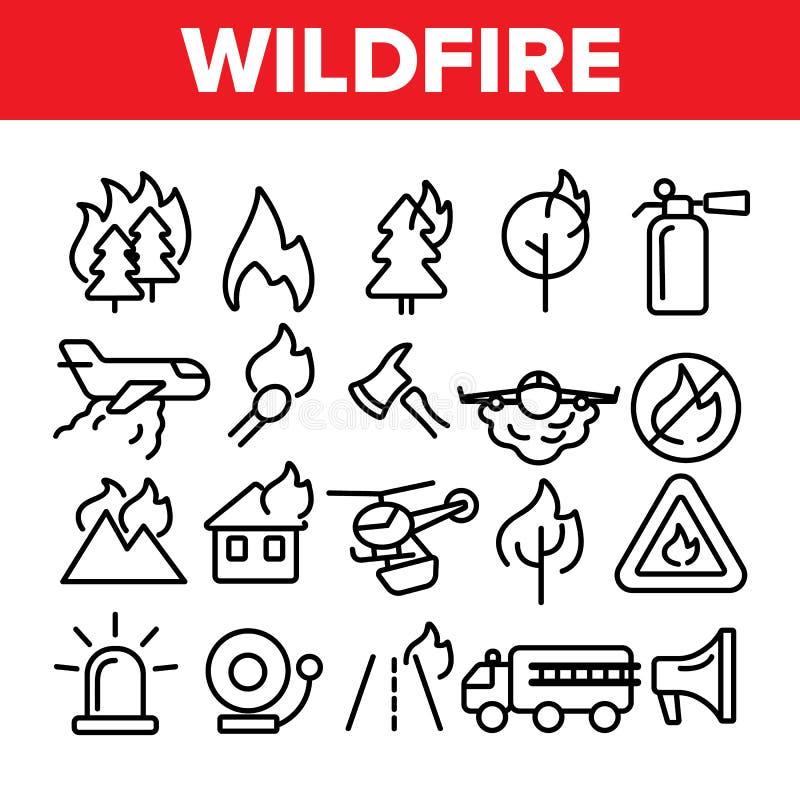Incendio fuera de control, línea fina sistema del vector del Bushfire de los iconos stock de ilustración