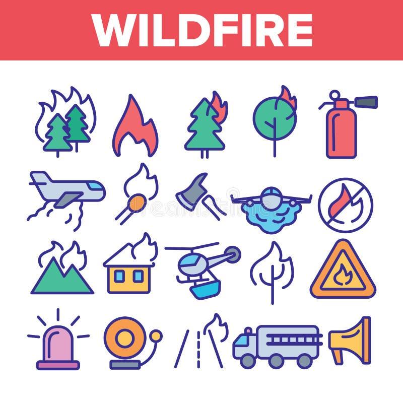 Incendio violento, linea sottile insieme di vettore di incendio di arbusti delle icone illustrazione vettoriale