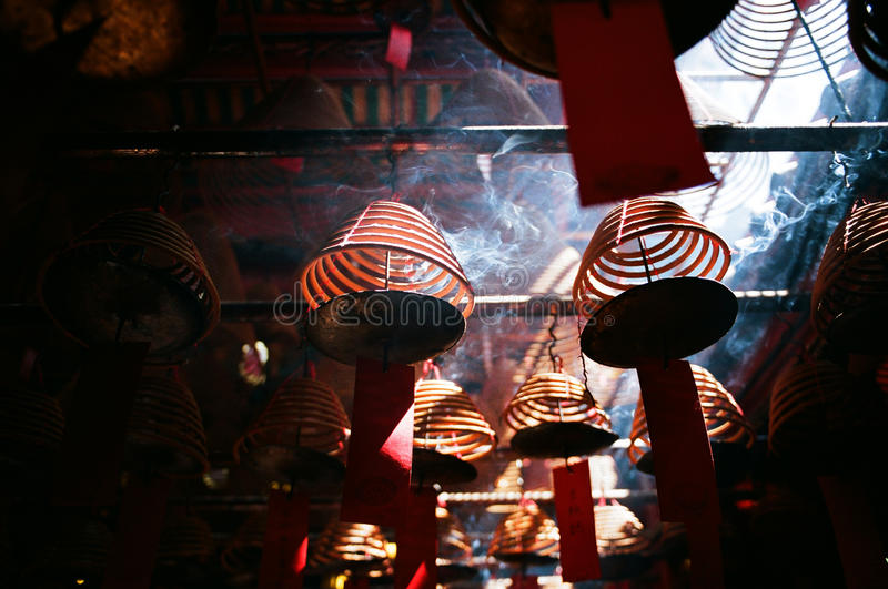 Incense coils, in a Chinese temple, hong kong. royalty free stock image