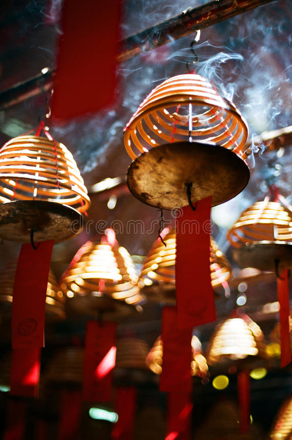 Incense coils, in a Chinese temple, hong kong. royalty free stock photos