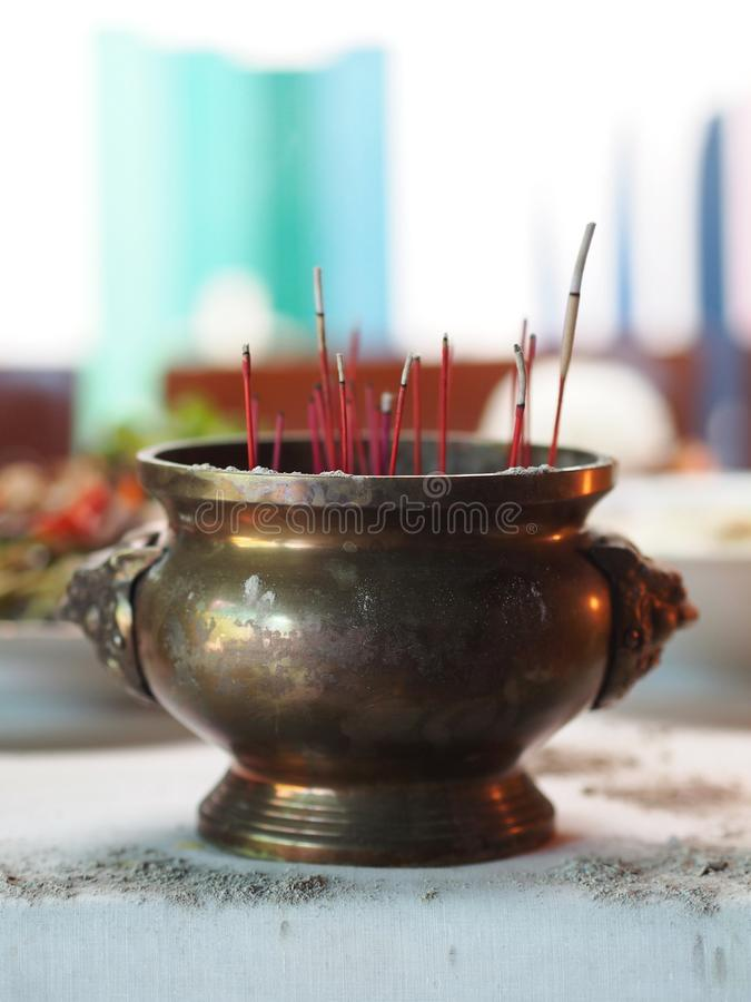 Incense Pot for Chinese New Year. Praying for Life. Incense Pot for Chinese New Year. Praying for Life and Luck stock photos