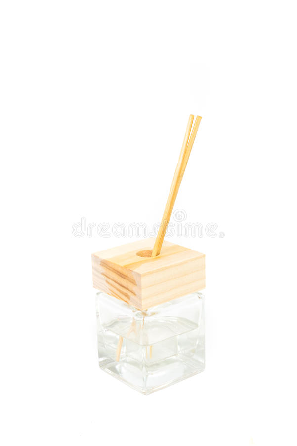 Incense stick aroma oil in square bottle royalty free stock images