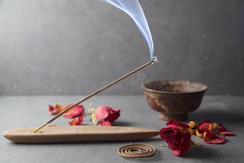 Incense stick. Aromatherapy royalty free stock image