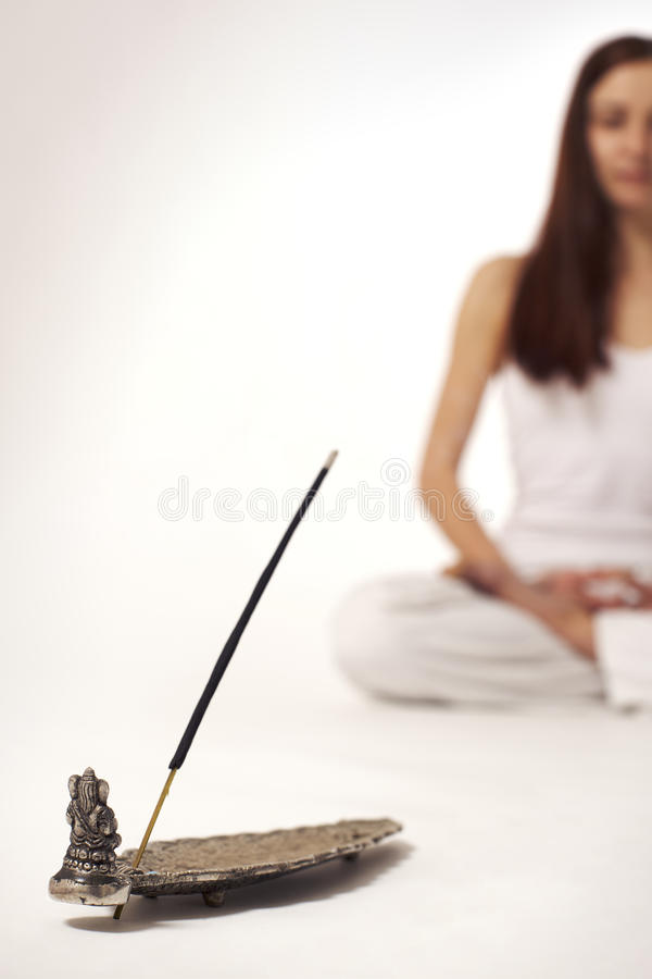 Download Incense Stick With Woman In Lotus Posture Stock Image - Image: 12890413