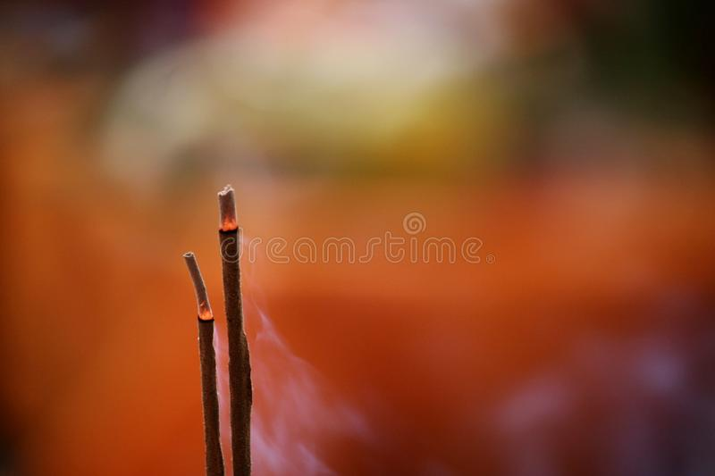 Incense sticks. Indian incense sticks, or Agarbatti as they call it, are sticks that burns slowly releasing a fresh fragrance. This sticks are part of culture royalty free stock images